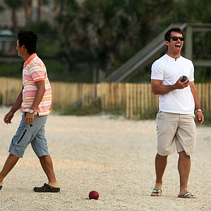 PGA Tour player Paul Casey has a laugh while he and Ryuji Imada play a game of Bocce ball at The Lodge and Club at Ponte Vedra Beach Tuesday evening. For more exclusive videos from the PGA Tour, including Casey, Imada and Van Pelt, check out tourplayers.com, an exclusive partner of Golfweek.