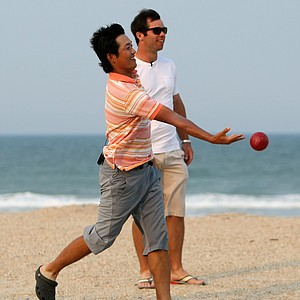 PGA Tour player Ryuji Imada, left, plays a game of Bocce ball at The Lodge and Club at Ponte Vedra Beach with Paul Casey. For more exclusive videos from the PGA Tour, including Casey, Imada and Van Pelt, check out tourplayers.com, an exclusive partner of Golfweek.