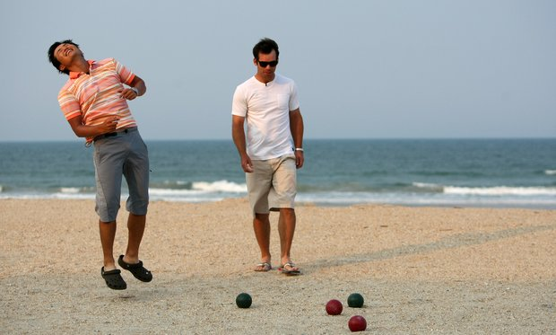 Ryuji Imada reacts to his bowling of the ball during a game with Paul Casey at The Lodge and Club at Ponte Vedra Beach. For more exclusive videos from the PGA Tour, including Casey, Imada and Van Pelt, check out tourplayers.com, an exclusive partner of Golfweek.