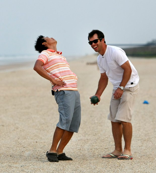 Ryuji Imada reacts while playing a game of Bocce Ball with Paul Casey on Tuesday evening at The Lodge and Club at Ponte Vedra Beach. For more exclusive videos from the PGA Tour, including Casey, Imada and Van Pelt, check out tourplayers.com, an exclusive partner of Golfweek.