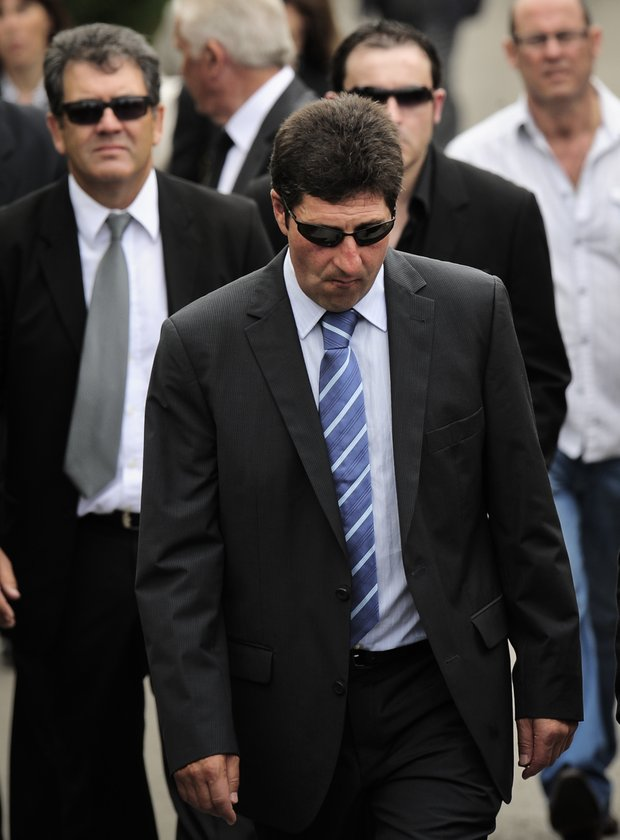 Spanish professional golfer Jose Maria Olazabal is seen during the funeral service of Spanish professional golfer, Seve Ballesteros, in the small town of Pedrena, Spain, Wednesday May 11, 2011.