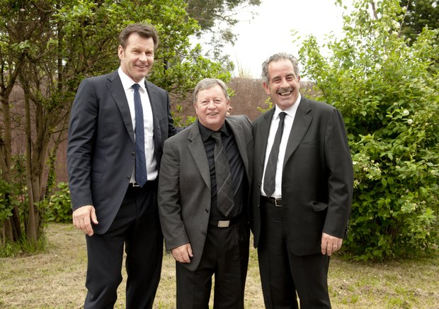 Golfers Sam Torrance from Scotland, Ian Woosnam from Wales, and Nick Faldo from England, from right, are seen after attending Spanish golfer Seve Ballesteros' funeral service in Pedrena, Spain, Wednesday May 11, 2011.