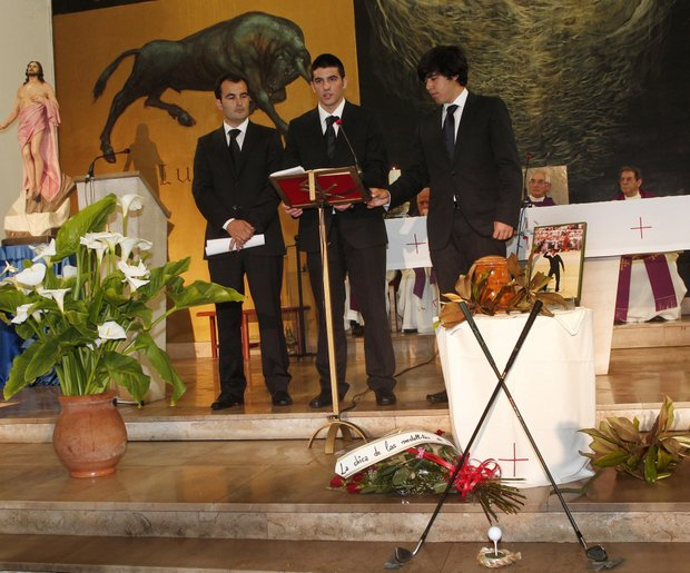 Ivan Ballesteros (left) stands besides Miquel Ballesteros (centre) and Javier Ballesteros during the funeral service inside the parish church for legendary Spanish golfer Seve Ballesteros on May 11, 2011 in Pedrena, Spain.