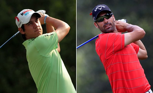 Matteo Manassero, left, and Alvaro Quiros during Round 2 of the Players Championship.