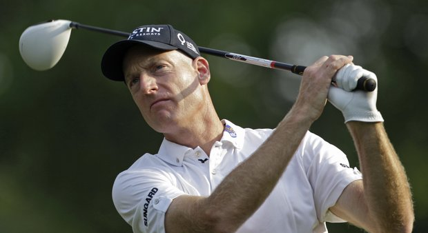 Jim Furyk tees off during the second round of The Players Championship.