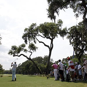 Nick Watney tees off at the sixth hole on the TPC Sawgrass Stadium course.