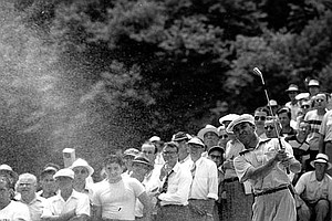 Ben Hogan hits out of a sand trap on the 12th hole during the third round of the U.S. Open at Ardmore, Pa. on June 10, 1950.