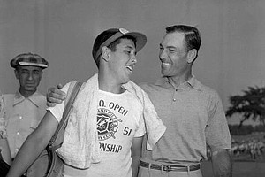 Ben Hogan, right, hugs his caddy, Dave Press, after winning the U.S. Open golf tournament in Birmingham, Mich. on June 16, 1951.