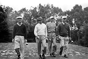 Golfers, from left to right, Ben Hogan, Sam Snead, Dr. Cary Middlecoff and Byron Nelson walk away from the second tee at the Olympic Club in practice round for the 1955 U.S. Open in San Francisco.