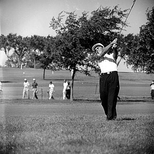 Gary Player plays his second on No. 3 at the 1958 U.S. Open Championship at Southern Hills CC in Tulsa, Okla. Player was 22 when he played in this tournament.
