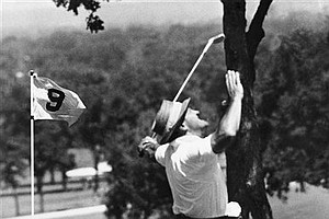 Tommy Bolt does an impromptu jig after sinking a putt on ninth green during the 1958 U.S. Open in Tulsa, Olka. Bolt would go on to win, he had a one stroke lead over Gary Player at that point.