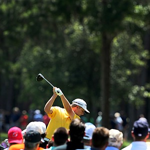 David Toms hits his tee shot at No. 6 on Sunday. Toms lost in a playoff with K. J. Choi.