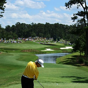 David Toms hits his tee shot at No 4 during the final round of The Players Championship.