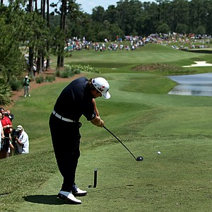 Graeme McDowell hits his tee shot at No. 4 during the final round of The Players Championship.