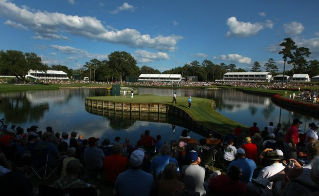 Rory Sabatini, Martin Kaymer and Spencer Levin walk off No. 17 on Sunday during the final round.