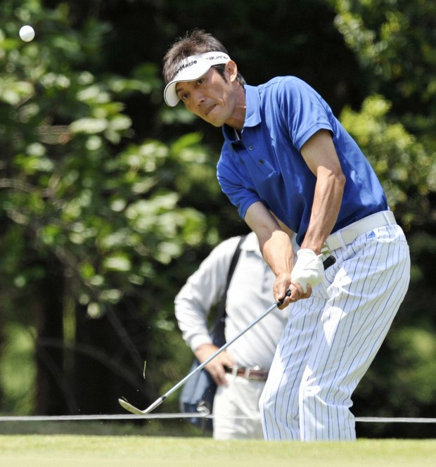 Hiroo Kawai of Japan launches a shot during the Japan PGA Championship at Onotoyo Golf Club in Hyogo Prefecture on May 14, 2011. Kawai is tied for the third round lead at 6-under 207 with South Korea's Bae Sang Moon.