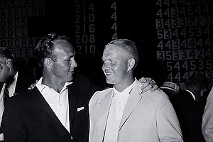 Arnold Palmer, left, winner of the U.S. Open Championship, congratulates Jack Nicklaus, the U.S. Amateur champion who placed second, at Cherry Hills Country Club in Denver, Co., on June 18, 1960. Palmer won with 280 to Nicklaus's 282.