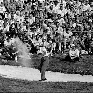 Ken Venturi hits the ball out of a sand trap during the U.S. Open Golf Championship at Congressional Country Club in Bethesda, Md., on June 20, 1964. Despite suffering from severe dehydration and exhaustion due to the 100-degree heat, Venturi went to win the event with a score of 278.