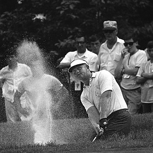 Jack Nicklaus blasts from a bunker on the second hole at Baltusrol Golf Club in Springfield, N.J. during the fourth round of the U.S. Open Golf Championship, August 13, 1967.