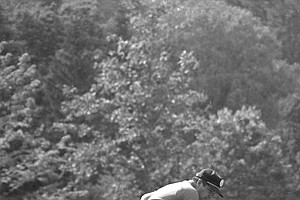 Lee Trevino reacts to another birdie on the 380 yard par four 12th hole in the final round of the 68th U.S. Open golf championship at the Oak Hill Country Club in Rochester, N.Y., June 16, 1968. Trevino won the tourney.