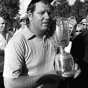 In this June 16, 1969 file photo, Orville Moody holds the U.S. Open Championship trophy after winning the event in Houston, Tx.