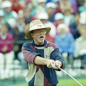 Tom Kite reacts as his ball drops in the cup to save par on the 13th hole during third round play of the U.S. Open Saturday, June 20, 1992 in Pebble Beach, Calif. Kite finished at 3 under par for the tournament.