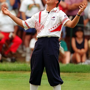 Payne Stewart reacts to his missed birdie putt on the 13th hole during the U.S. Open in Springfield, N.J., in this June 20, 1993 photo. A Learjet co-owned by golf champion Payne Stewart flew uncontrolled over the nation's heartland for hours Monday Oct. 25, 1999 before crashing in South Dakota, apparently with five people aboard. There were no survivors. Government officials feared that Stewart was among the victims.