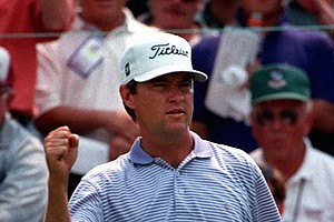 Davis Love III of Sea Island, Ga., celebrates after making birdie on the eighth hole during the final round of the U.S. Open on Sunday, June 16, 1996, at the Oakland Hills Country Club in Bloomfield Hills, Mich.