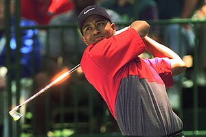 Tiger Woods, of Windermere, Fla., tees off at the first hole during the final round of the U.S. Open Sunday, June 15, 1997, at the Congressional Country Club in Bethesda, Md.
