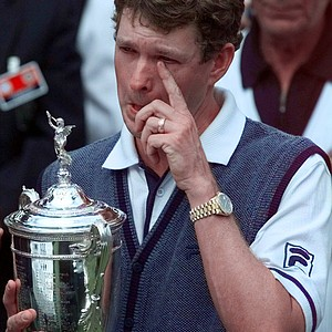 1998 U.S Open Champion Lee Janzen wipes a tear from his eye while being presented with the trophy after the final round of the 1998 U.S. Open Golf Championship at the Lake Course of the Olympic Club in San Francisco, Calif., Sunday, June 21, 1998. Janzen beat Payne Stewart by one stroke to win.