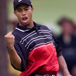 Tiger Woods, of Windermere, Fla., celebrates a birdie on the 16th hole during the final round of the U.S. Open at the Pinehurst Resort & Country Club's No. 2 course in Pinehurst, N.C. on Sunday, June 20, 1999.