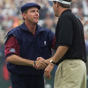 Phil Mickelson, right, congratulates Payne Stewart after Stewart won the U.S. Open at the Pinehurst Resort & Country Club's No. 2 course in Pinehurst, N.C. on Sunday, June 20, 1999. Stewart beat Mickelson by one stroke, sinking a putt for par on the 18th hole. Stewart's final score was 1-under-par 279.