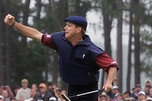 Payne Stewart celebrates after winning the U.S. Open golf championship at the Pinehurst No. 2 course in Pinehurst, N.C., June 20, 1999. The course that frustrated the world's best players during two U.S. Opens and tested the toughness of countless other duffers celebrates its 100th birthday resolute in its status as one of the sport's toughest courses to tame.