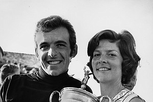 Tony Jacklin and his wife, Vivien, pose with his trophy at the Hazeltine National Golf Club in Chaska, Mn. on Sun. June 21, 1970. Tony Jacklin, also the British Open Champion, won the U.S. Open Championship with a score of 281.
