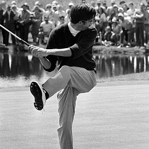 Dave Hill, playing out of Evergreen, Colorado, kicks high as his putt drops on the seventh hole in Sunday's final round of U.S. Open Championship in Chaska, Minnesota, June 21, 1970. Hill was four strokes behind leader Tony Jacklin at start of the Sunday round.