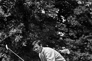 Dave Hill dances as his putt misses on seventeenth green during second day's play in U.S Open tournament in Chaska, Minnesota Friday, June 19, 1970. Hill finished round with a sixty-nine which gives him an even par 144 for the two rounds.