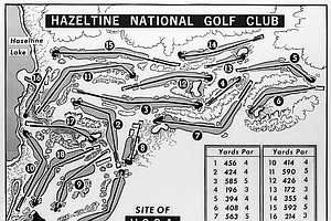 Map shows the layout of holes at Hazeltine National Golf Course in Chaska, Minnesota in 1970, where The U.S. Open Golf Championship Tournament is scheduled to begin on June 18.