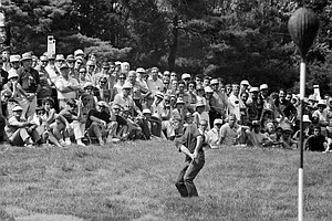 Jim Simons, who was runnerup in the British Amateur and went into today's fourth round as leader of the U.S. Open, aims for the basket- topped pin on 5th green of the Merion Golf Club at Ardmore, Pa., June 20, 1971. Simons led the field with a 3-under par 207 for the 54-hole three round total.