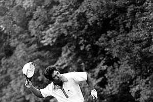Lee Trevino reacts after defeating Jack Nicklaus in an 18-hole extra round play to win the U.S. Open Golf Championship title at Merion Golf Club in Ardmore, Pa., on June 22, 1971.