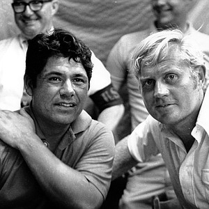 Lee Trevino, left, and Jack Nicklaus get together at Merion Golf Club in Ardmore, Pa., on June 20, 1971. They tied for the U.S. Open Golf Championship as they played it down to the last hole of the four-day championship and tied with even par 210 for the 72 holes. They will play an 18-hole playoff extra round to determine the winner.