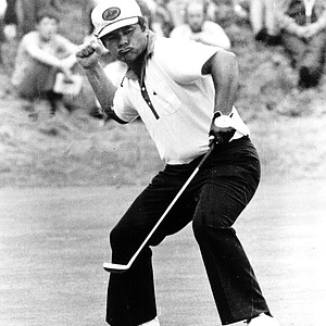 Lee Trevino reacts after he birdied the fourth hole in the third round of the U.S. Open Golf Championship at the Merion Golf Club at Ardmore, Pa., on June 19, 1971.