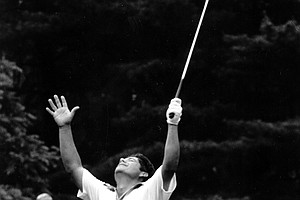Lee Trevino jubilates after he sank a birdie putt on the 12th green during the playoff round of the U.S. Open Golf Championships, Monday June 21, 1971, in Ardmore, Pa.