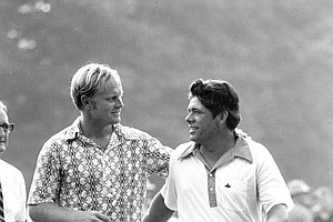 Jack Nicklaus, left, and Lee Trevino walk off the 18th green at Merion Golf club in Ardmore, Pa., on June 21, 1971, after Trevino defeated Nicklaus in an extra 18-hole round for the U.S. Open title.