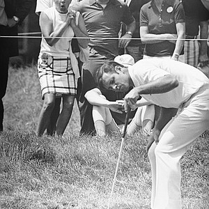 Ralph Johnston, Jackson Heights, New York, rookie watches ball miss cup for a bird on 17th green and spectators react in background in first round play of the U.S. Open, June 17, 1971 at Ardmore, Pennsylvania. Johnston, first to tee off, wound up with even par 70 after having been two under.