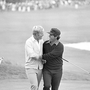 First to congratulate Jack Nicklaus on his victory in the U.S. Open at Pebble Beach was the man he deposed, Lee Trevino, who won the 1971 title in an 18-hole playoff with Nicklaus, June 19, 1972. They're walking off the 18th green after Nicklaus captured the title by three strokes with a two-over-par 290 total.