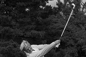 Jack Nicklaus lashes an iron off the 17th tee to the green during the final round of the U.S Open at Pebble Beach, Calif., June 19, 1972.