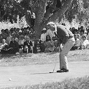 Arnold Palmer reacts to missing a birdie putt on the fifth green during the second round of the U.S. Open at Pebble Beach, Ca. on June 16, 1972.