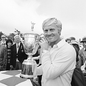 Jack Nicklaus holds the trophy emblematic of his victory in the U.S. Open golf tournament at Pebble Beach, Calif., June 18, 1972, where he won the second leg of his goal of capturing professional golf's grand slam. Now the winner of the Masters and the U.S. Open, Nicklaus must win the British Open and American PGA to complete the slam.