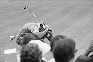 Arnold Palmer bends over and raises putter after missing a birdie putt on the 12th green in the third round play at the Oakmont Country Club, Saturday, June 16, 1973, Oakmont, Pa. He was at even par, 142, when he started the round but picked up strokes as he traveled the rain-soaked course.