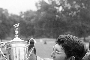 Hale Irwin is shown with his trophy after winning the U.S. Open Championship title at the Winged Foot Golf Club in Mamaroneck, N.Y., June 16, 1974. Irwin defeated Forrest Fezler with a score of 287.